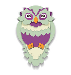beauty owl in paper style isolated vector image