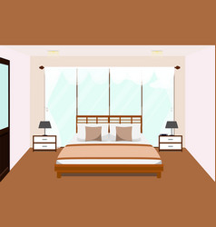 bedroom interior with furniture glass window vector image vector image