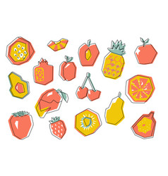 big abstract geometric fruit set vector image