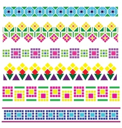 borders with geometrical flowers vector image