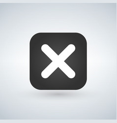 cancel cross icon flat design square internet vector image