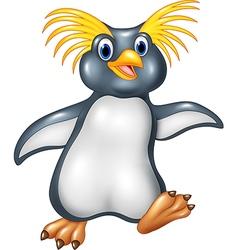 Cartoon funny penguin rockhopper vector