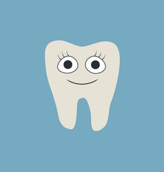 cartoon smiley tooth isolated on blue background vector image