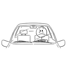 cartoon unhappy or stressed man or driver vector image