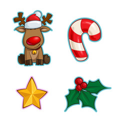 Christmas cartoon icon set - red-nose reindeer vector