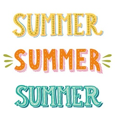 Collection of hand drawn words Summer in different vector image