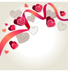 contour hearts on light background vector image
