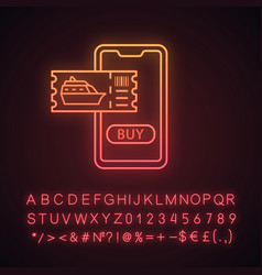 Cruise tickets buying neon light icon vector