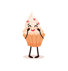 cute cupcake with funny face humanized dessert vector image