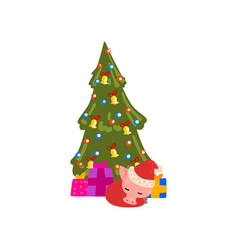 cute little pig character sleeping under christmas vector image