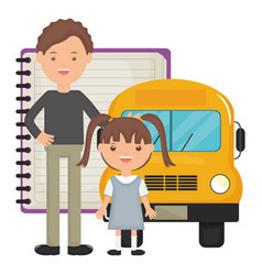 cute little student girl with teacher and bus vector image