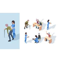 Elderly nursing clinic playing senior exercises vector