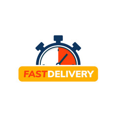 Express delivery service logo fast time delivery vector