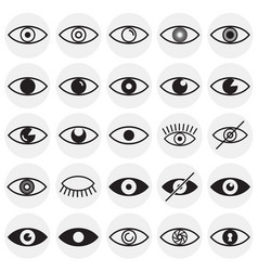 Eye icons set on circles background for graphic vector