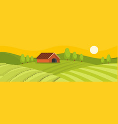Field and house banner flat style vector