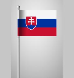 Flag of slovakia national flag on flagpole vector