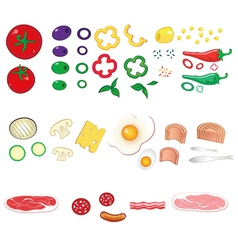 food ingredients set vector image vector image