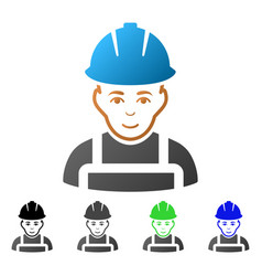 Glad worker flat gradient icon vector