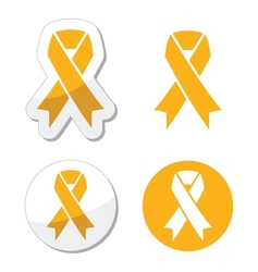 Gold ribbon - childhood cancer symbol vector image
