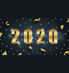 golden greeting background for happy new year 2020 vector image