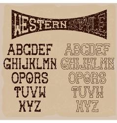 grunge western alphabet vector image