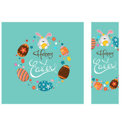 happy easter greeting card and banner vector image