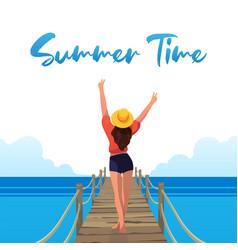 Happy girl on beach summer vibes vector