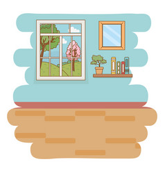 home window and landscape design vector image