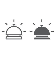 hotel bell line and glyph icon travel and hotel vector image