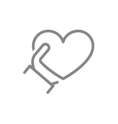 human holding heart line icon share a donate vector image