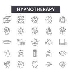 Hypnotherapy line icons signs set vector