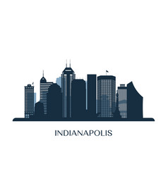 indianapolis skyline monochrome silhouette vector image