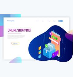 isometric online shopping concept landing vector image