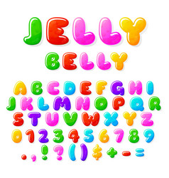 jelly alphabet fruit candy font typographics vector image