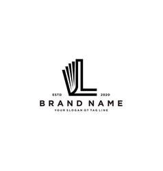 Letter l and book logo design vector
