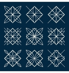 Lineart ornamental geometric symbols vector image