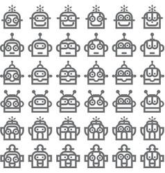 Logo robot head silver technology icon symbol vector