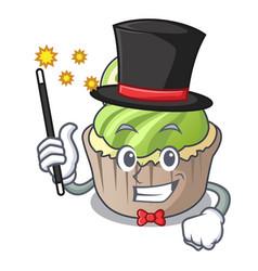 Magician lemon cupcake mascot cartoon vector