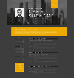 Minimalistic cv resume template with header photo vector