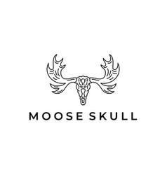 moose deer elk skull logo icon design vector image
