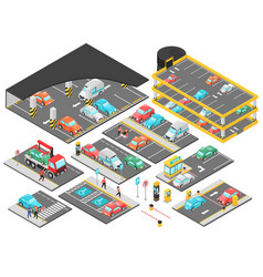 multilevel parking isometric set vector image