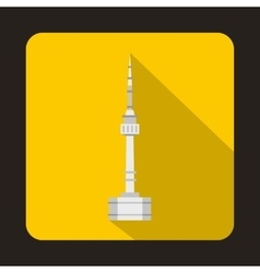 N seoul tower south korea icon flat style vector