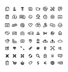 Naive style icon set doodle ink set of icons with vector
