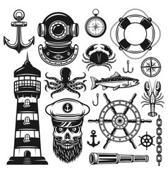 Nautical set of objects and design elements vector