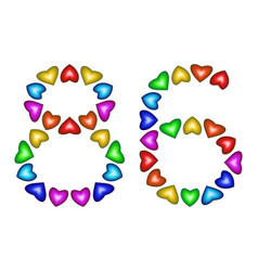 number 86 eighty six of colorful hearts on white vector image