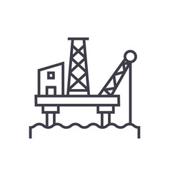 oil platform line icon sign vector image