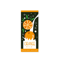 Orange milk logo original design label for vector