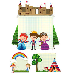paper template with kids in different background vector image