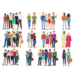 People groups and couples collection diverse vector