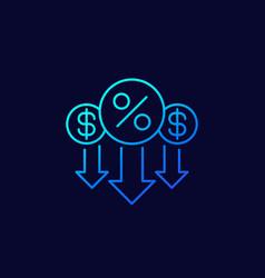 percent down rate decrease line icon vector image